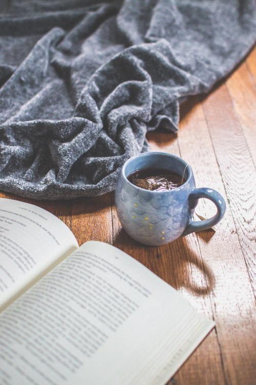 book with blanket and cup of tea